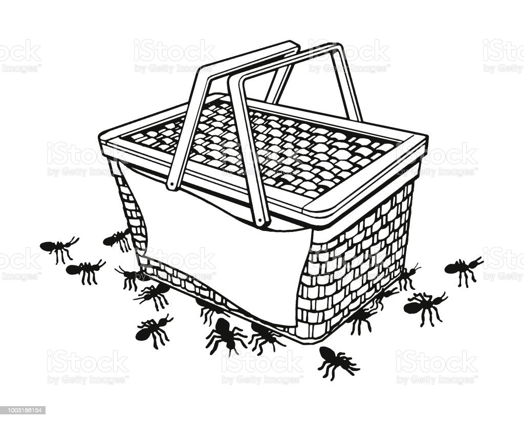 Picnic Basket with Ants vector art illustration