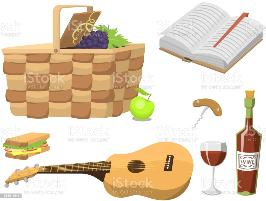 Picnic basket with food relaxation vacation container lunch summer meal vector illustration picnic basket with food relaxation vacation container lunch summer meal vector illustration - arte vetorial de stock e mais imagens de almoço royalty-free