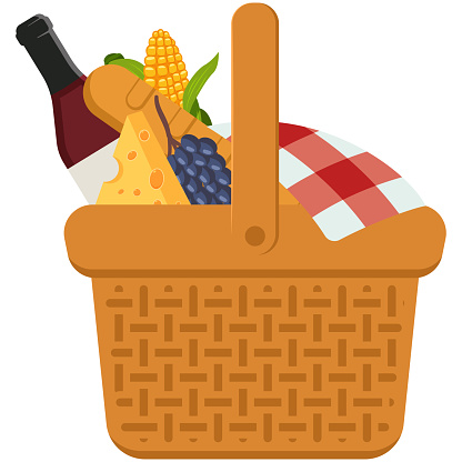 Picnic Basket With Food Vector Cartoon Illustration Isolated On A White Background Stock Illustration Download Image Now Istock