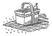 Hand-drawn vector drawing of a Picnic Basket With Fruits And A Bottle Of Wine. Black-and-White sketch on a transparent background (.eps-file). Included files are EPS (v10) and Hi-Res JPG.