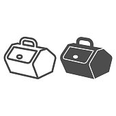 Picnic basket with lid and handle line and solid icon, picnic concept, food container sign on white background, container for picnic or camping icon in outline style for mobile, web. Vector graphics