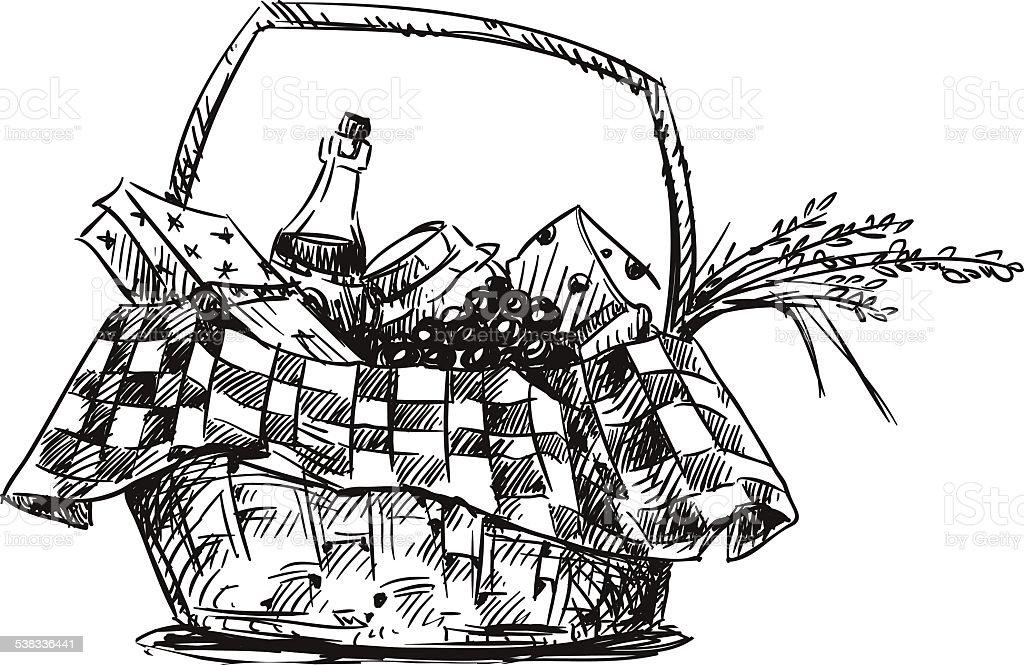 ピクニックバスケットと軽食をお楽しみください。手描きます。 ベクターアートイラスト