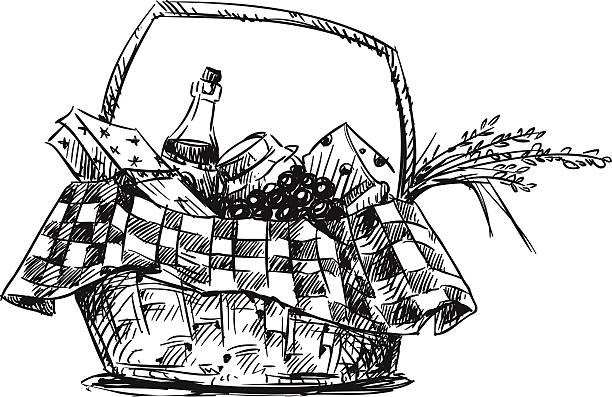 ピクニックバスケットと軽食をお楽しみください。手描きます。 - ピクニック点のイラスト素材/クリップアート素材/マンガ素材/アイコン素材