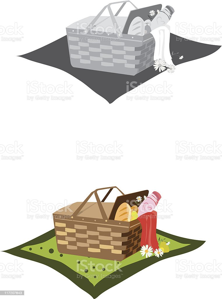 Picnic basket/cookout royalty-free stock vector art