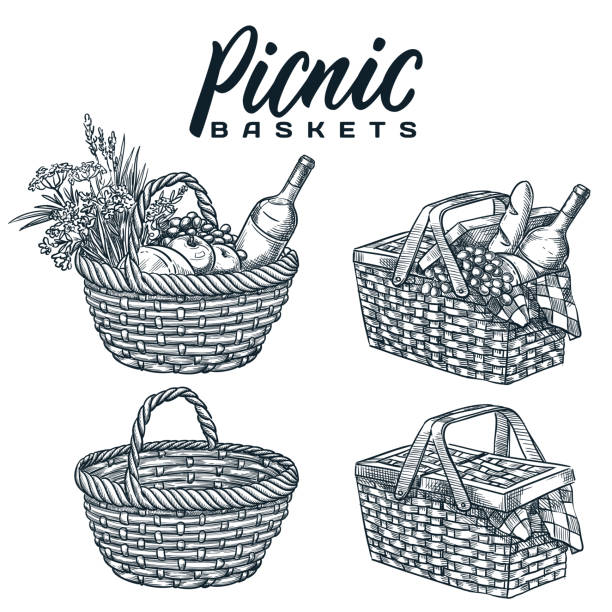 Picnic baskets isolated on white background. Vector hand drawn sketch illustration. Summer outdoor lunch design elements Picnic baskets set, isolated on white background. Vector hand drawn sketch illustration. Summer outdoor lunch, dinner design elements and calligraphy lettering. Pottle with wine, bread and snack food picnic stock illustrations