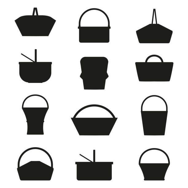 Picnic Baskets Silhouettes vector art illustration