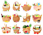 Picnic baskets. Wicker willow picnic baskets with bread, fruits, vegetables and wine. Straw basket full of delish picnic food vector illustrations. Hamper with products as croissants, hamburgers