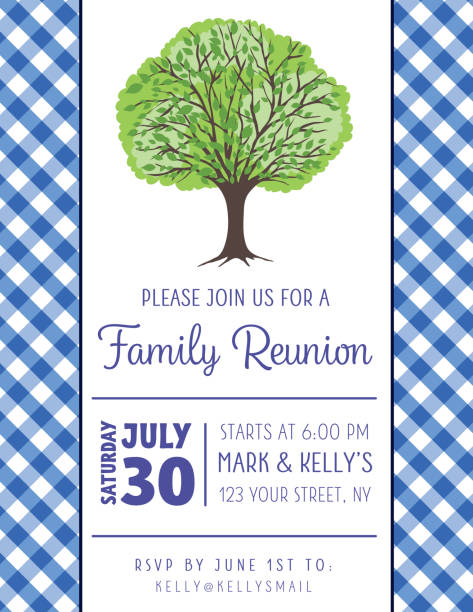 picnic bbq invitation template with tree - family reunion stock illustrations, clip art, cartoons, & icons
