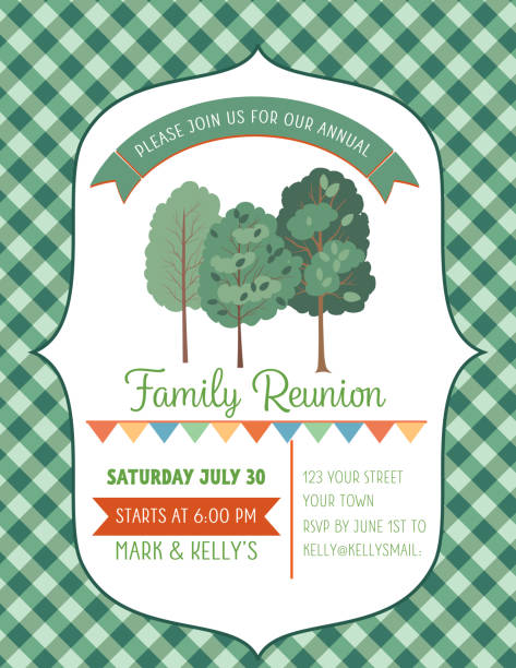 picnic bbq invitation template with trees - family reunion stock illustrations, clip art, cartoons, & icons