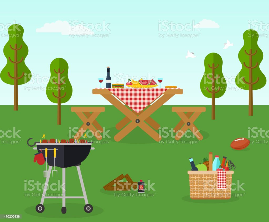 Un pique-nique et barbecue de loisirs en plein air - Illustration vectorielle