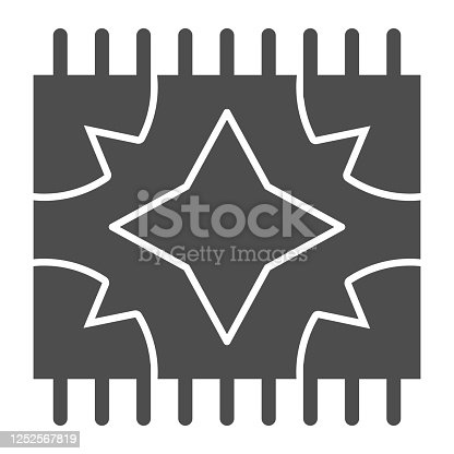 istock Picnic blanket for outdoor leisure solid icon, summer picnic concept, plaid sign on white background, carpet with geometry symbols icon in glyph style for mobile and web. Vector graphics. 1252567819