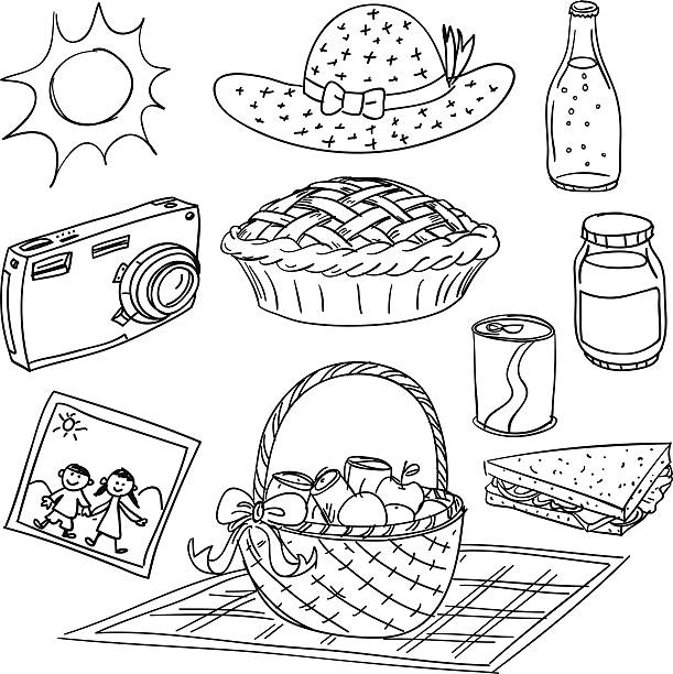 Picnic elements illustration in black and white Picnic elements in black and white female sandwich stock illustrations