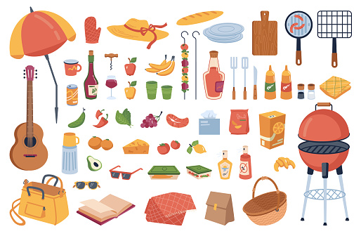 Picnic elements set isolated cartoon icons. Vector grill and umbrella, food drinks, grilling equipment. Guitar and cutting board, book and basket, sauces, glass and summer hat. BBQ meat on skewers
