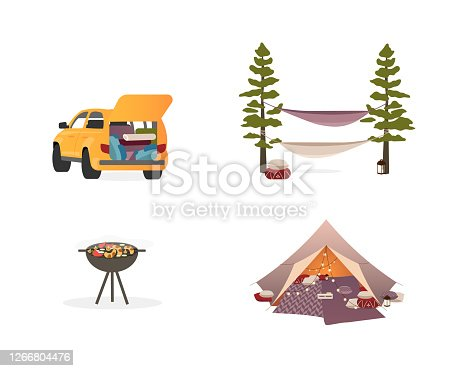Picnic equipment flat color vector objects set. Camping tent with lights. Hammocks. Car. Barbeque grill. Isolated cartoon illustration for web graphic design and animation collection