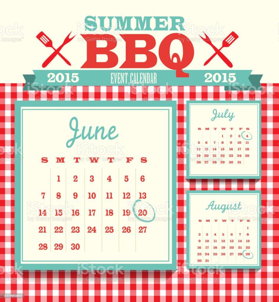 ピクニックイベントカレンダーのデザインテンプレート 2015 年 6 月 ベクターアートイラスト