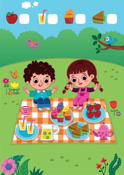 Picnic Fun Addition game for kids. (Vector illustration) female sandwich stock illustrations