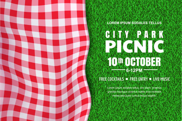 Picnic horizontal background. Vector poster or banner template with realistic red gingham plaid on green grass lawn Picnic horizontal background. Vector poster or banner design template with realistic red gingham plaid on green grass lawn. Outdoors summer weekend in city park. picnic stock illustrations