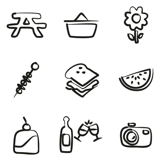 Picnic Icons Freehand vector art illustration