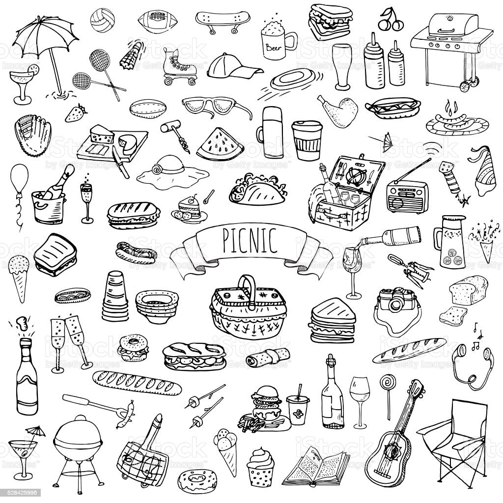 Picnic icons set vector art illustration