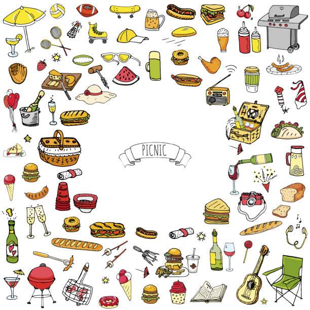 bildbanksillustrationer, clip art samt tecknat material och ikoner med picknick ikoner set - vin sommar fest