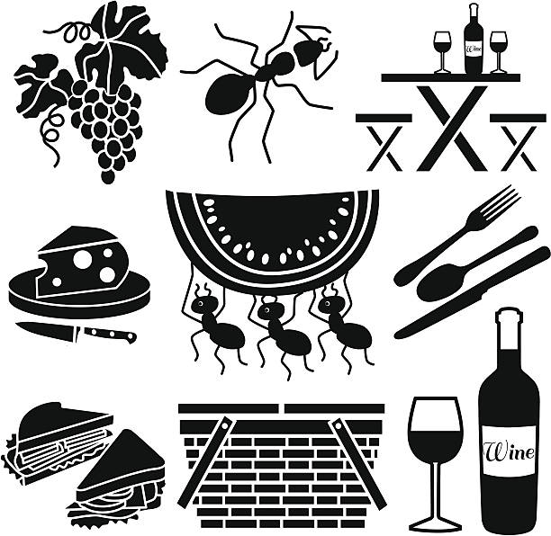 picnic icons vector art illustration