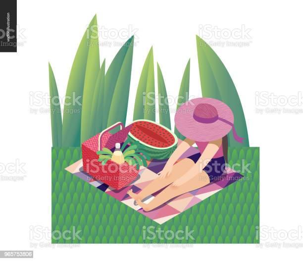 Picnic Image Summer Postcard - Arte vetorial de stock e mais imagens de Adulto