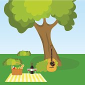 Picnic in nature, outdoor recreation under a tree