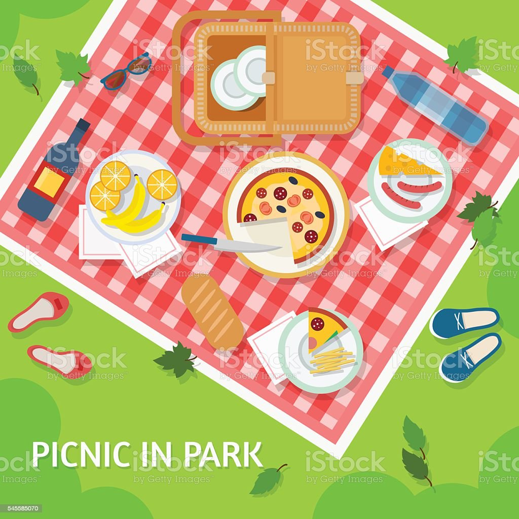 パークでピクニック ベクターアートイラスト