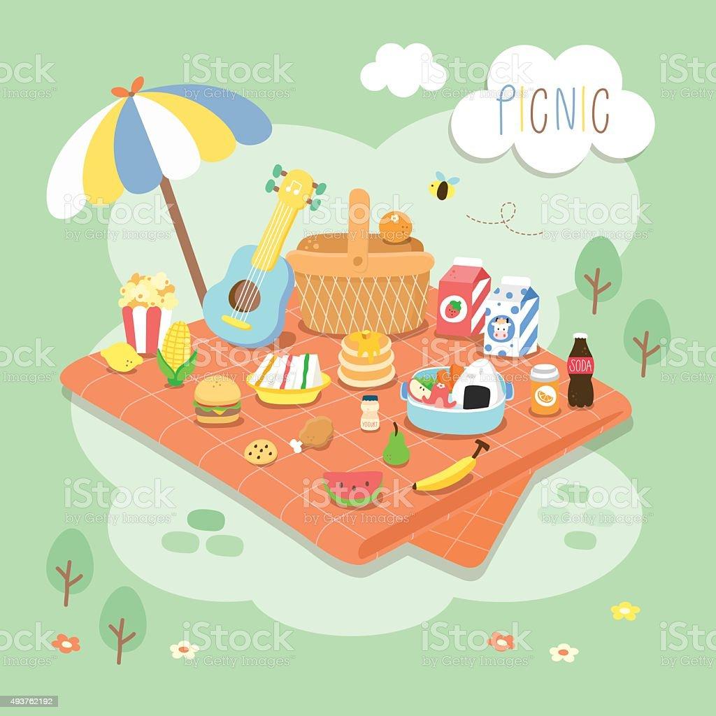 picnic in the garden vector art illustration