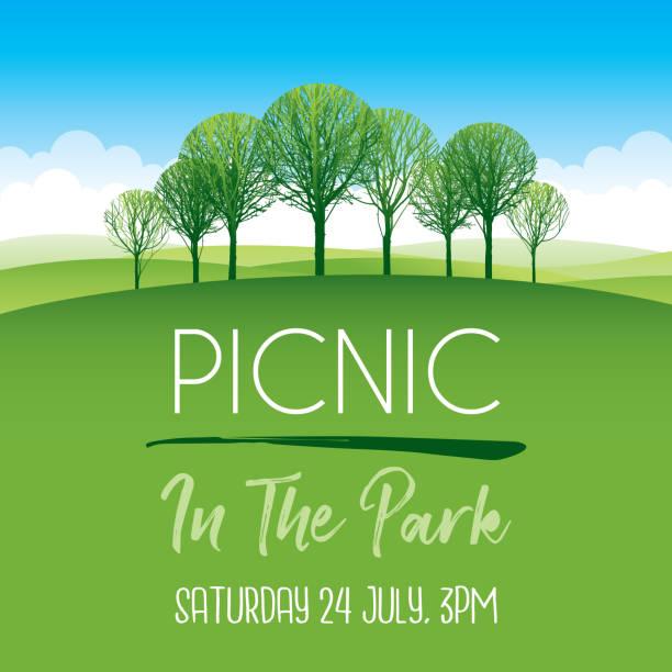 Picnic in the park poster vector art illustration