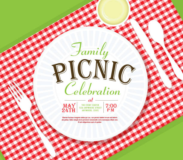 picnic invitation design template angle placesetting - family reunion stock illustrations, clip art, cartoons, & icons