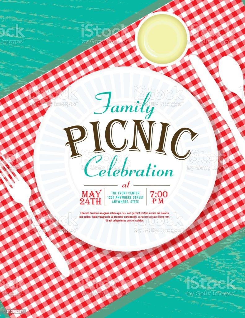 picknickeinladung designvorlage winkel placesetting vektor, Einladung