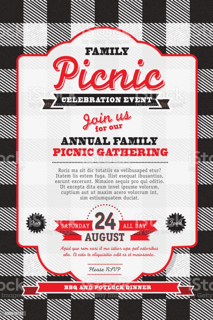 Picnic Invitation Design Template Black And White Check Background