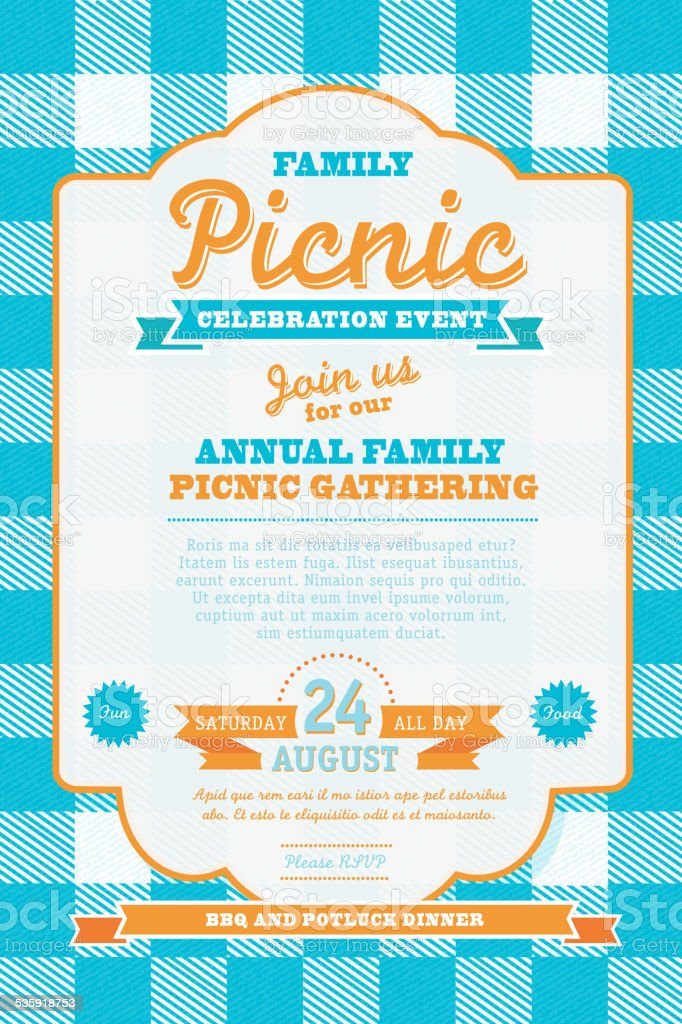 ピクニック招待状のデザインテンプレートブルーとオレンジ 2015年の