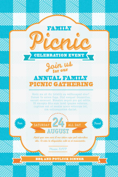 ilustraciones, imágenes clip art, dibujos animados e iconos de stock de picnic plantilla de diseño de la invitación azul y naranja - picnic