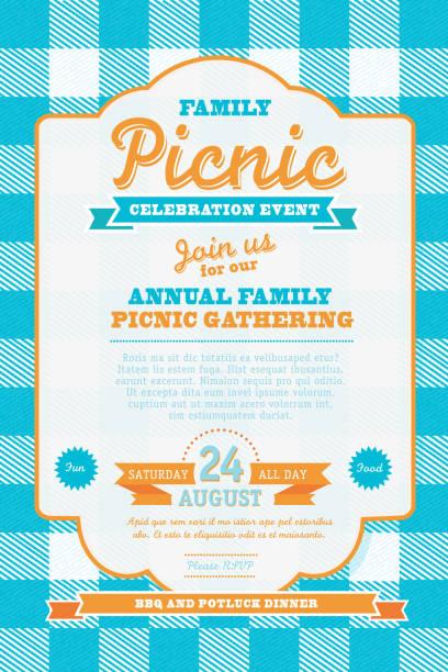 picnic invitation design template blue and orange - picnic stock illustrations, clip art, cartoons, & icons