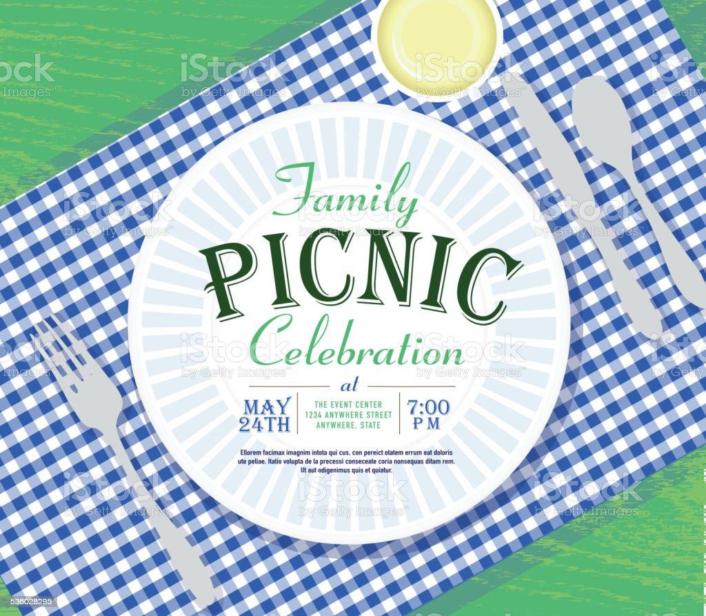 ピクニック招待状のデザインテンプレートダークブルーのチェックテーブルクロス ベクターアートイラスト