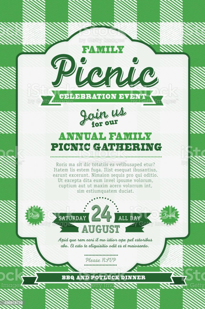 picnic invitation design template green background and