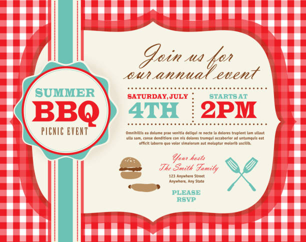 picnic invitation design template horizontal red and teal cute - picnic stock illustrations, clip art, cartoons, & icons