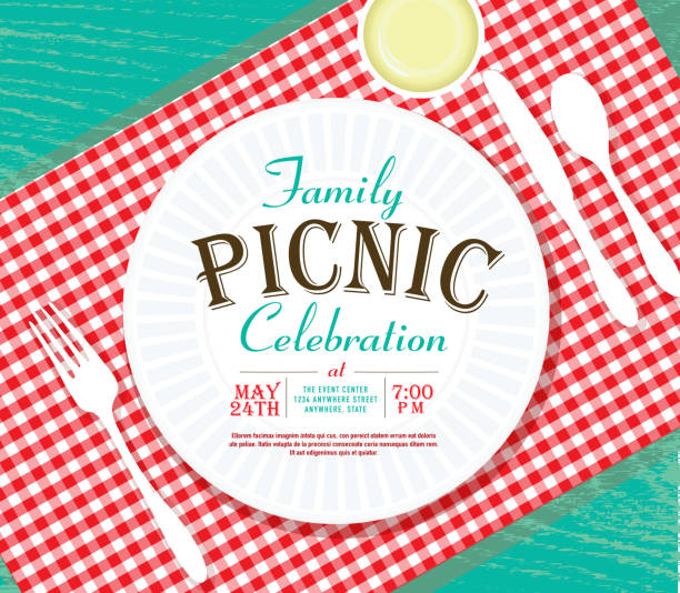 picnic invitation design template on teal wood - family reunion stock illustrations, clip art, cartoons, & icons