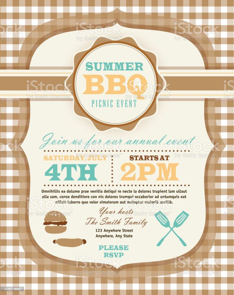 picnic invitation design template or barbecue invite stock vector