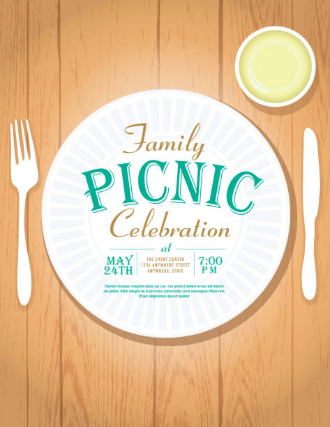 picnic invitation design template - family reunion stock illustrations, clip art, cartoons, & icons