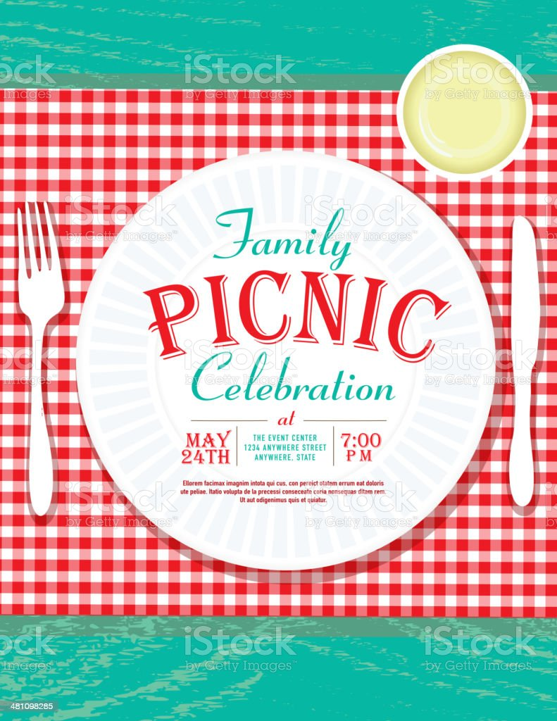 picnic invitation design template with plastic cutlery and paper