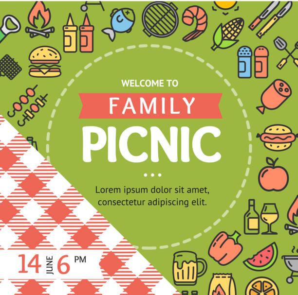 ilustraciones, imágenes clip art, dibujos animados e iconos de stock de picnic cartel banner invitación con icono de línea delgada. vector de - picnic