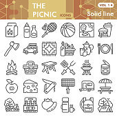 Picnic line icon set, barbecue symbols collection or sketches. Camping and outdoor leisure linear style signs for web and app. Vector graphics isolated on white background