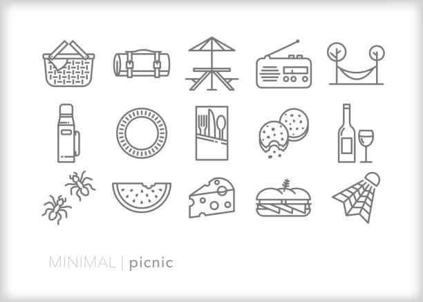 picknick-mittagessen linie symbol-set - plastikteller stock-grafiken, -clipart, -cartoons und -symbole