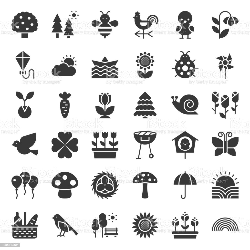 Picnic, nature and spring icon set, such as picnic basket, floral, bird, rainbow, bird nest, playing kite, sun raising, solid icon vector art illustration