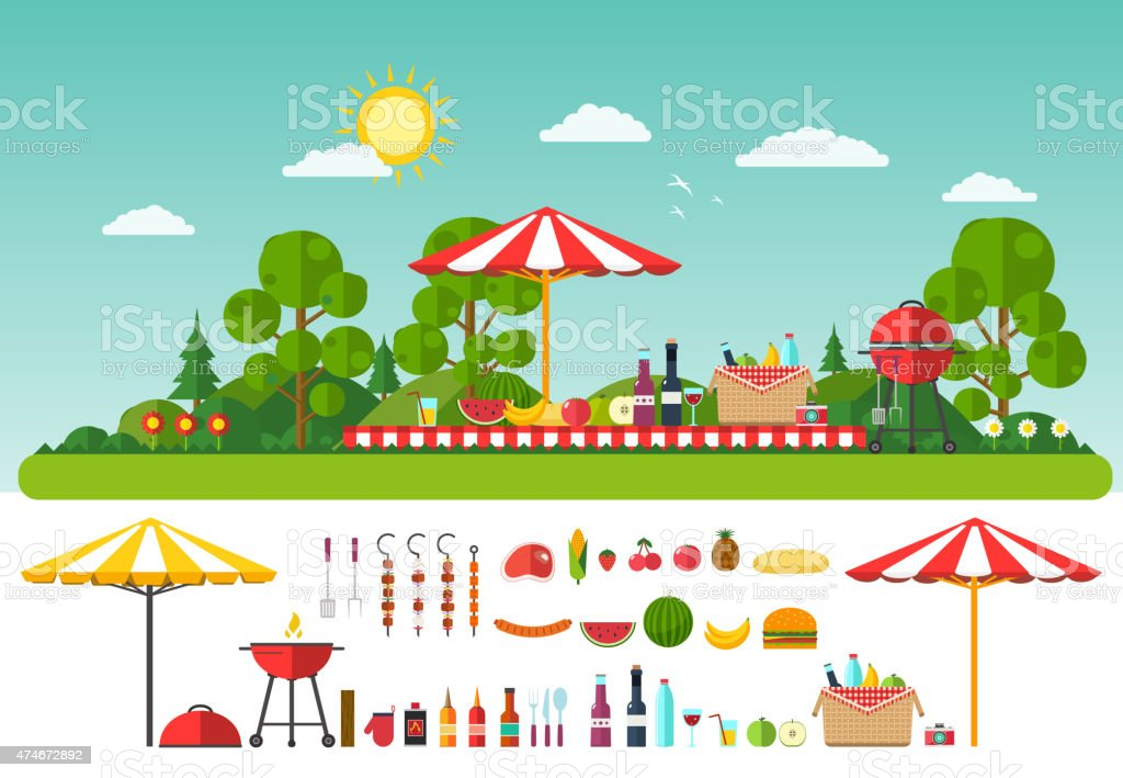 Picnic on nature. Set of elements for outdoor recreation vector art illustration