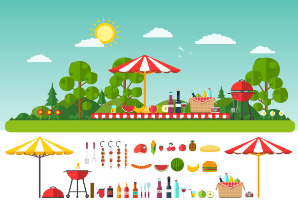 ilustraciones, imágenes clip art, dibujos animados e iconos de stock de picnic en la naturaleza.   conjunto de elementos para el esparcimiento al aire libre - picnic