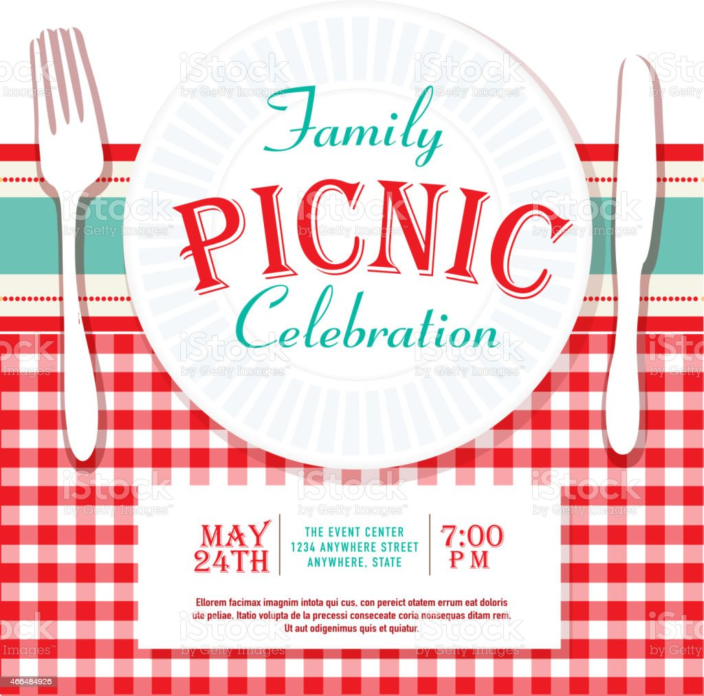 Picnic Or Barbecue Family Fun Event Invitation Design Template Royalty Free  Stock Vector Art